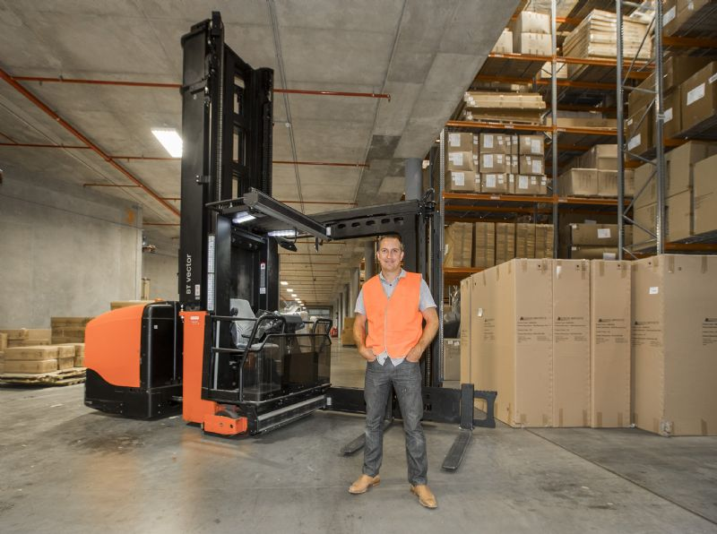 Oz Design Furniture Director Richard Taafe With The Companyu0027s Customised  Toyota BT Vector VCE150A Turret Truck